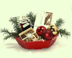 Praesentkorb für Weihnachten Pralinenherz