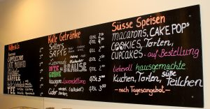 Getränkekarte Café Pralinenherz